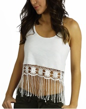 top,crop tops,fringes,white,summer,fashion,style,trendy,free vibrationz