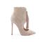 Beige suede 5 inch high heel fall boots