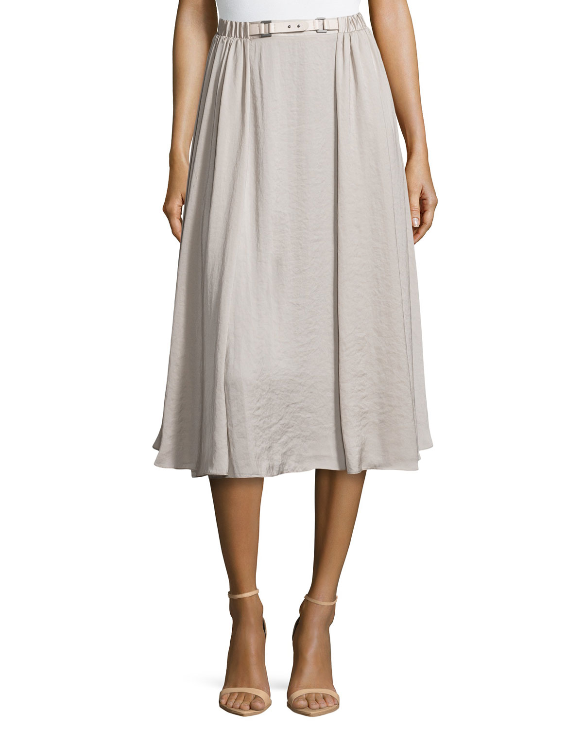 Georgette Swingy Midi Skirt, Flint