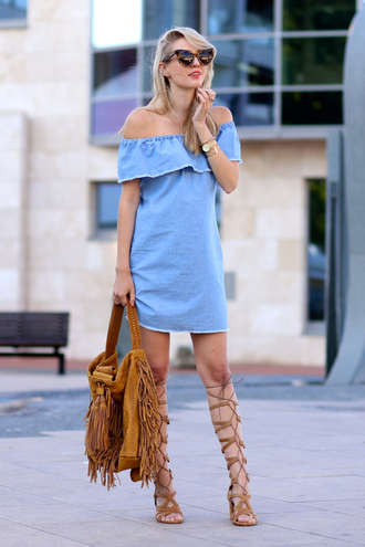 ohh couture blogger suede bag fringed bag denim dress off the shoulder dress cat eye gladiators