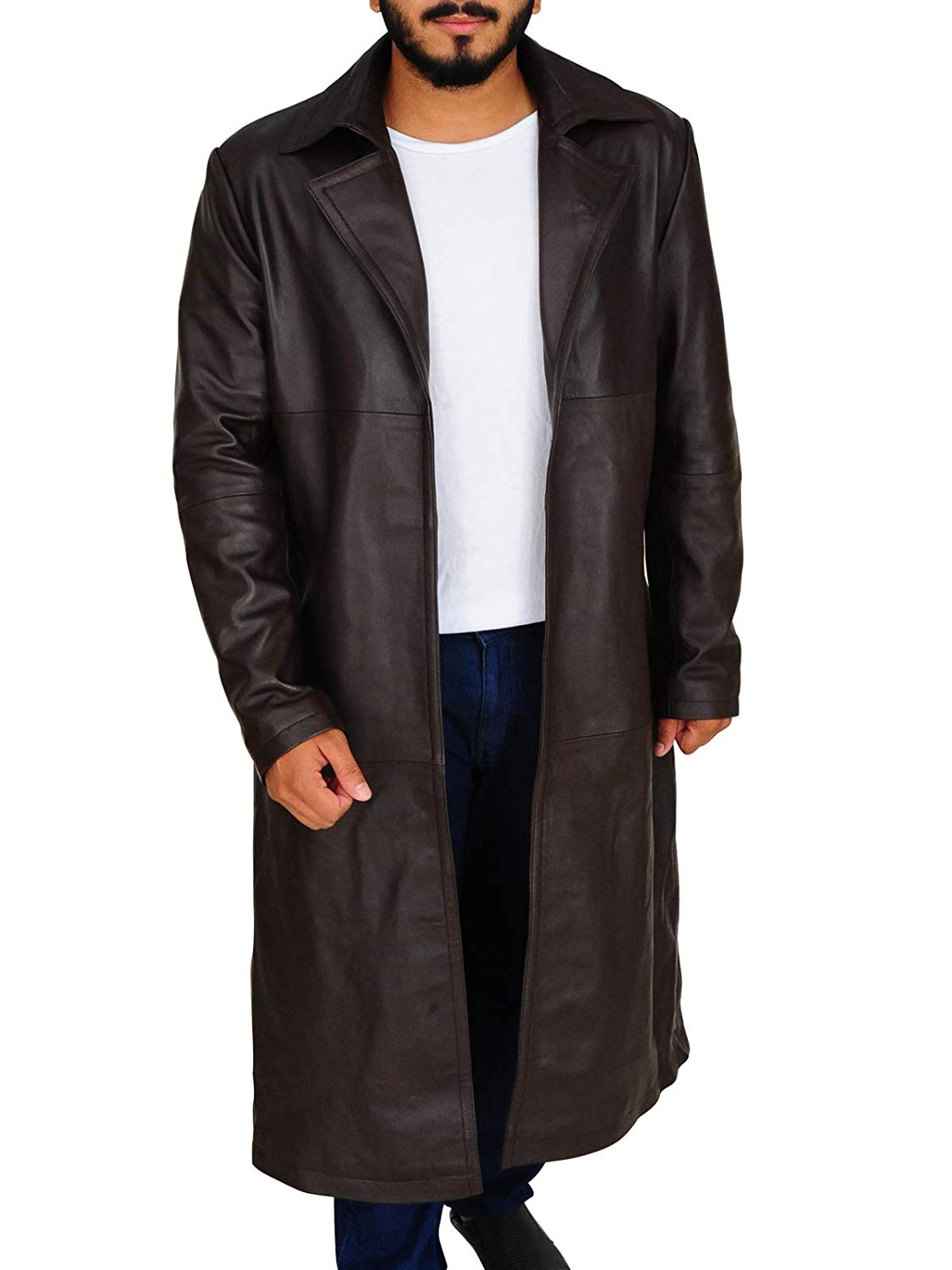 TrendHoop Mens Western Wear Cowhide Leather Long Coat Cowboy Style Trench Jacket at Amazon Men's Clothing store:
