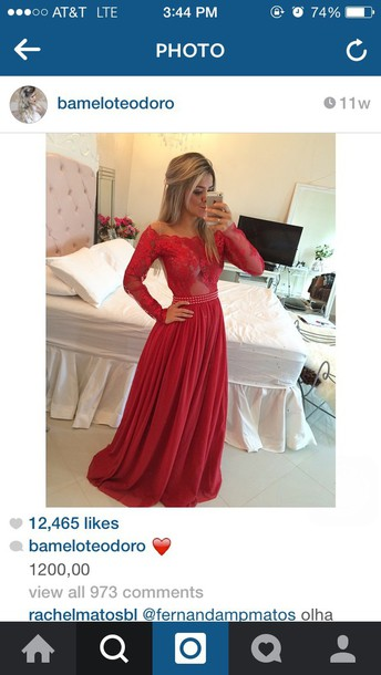 dress red dress prom dress long sleeves