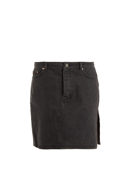 RAEY Side-split denim skirt in black