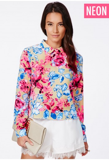 Missguided - Ethelene Neon Floral Cropped Shirt