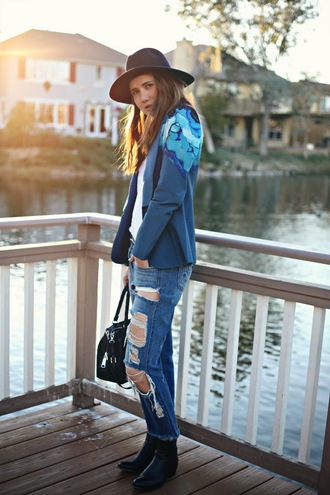 color me nana blogger hat blue blazer blue jacket ripped jeans
