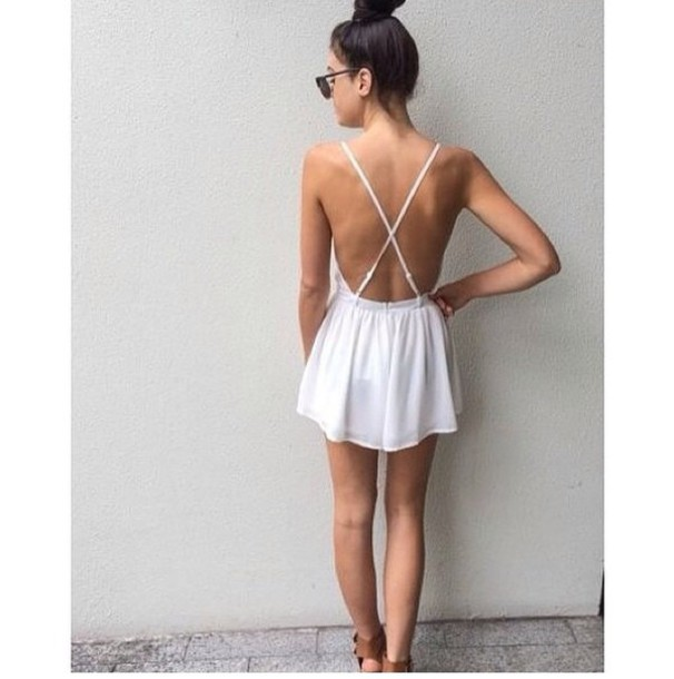 white dress perfect backless dress
