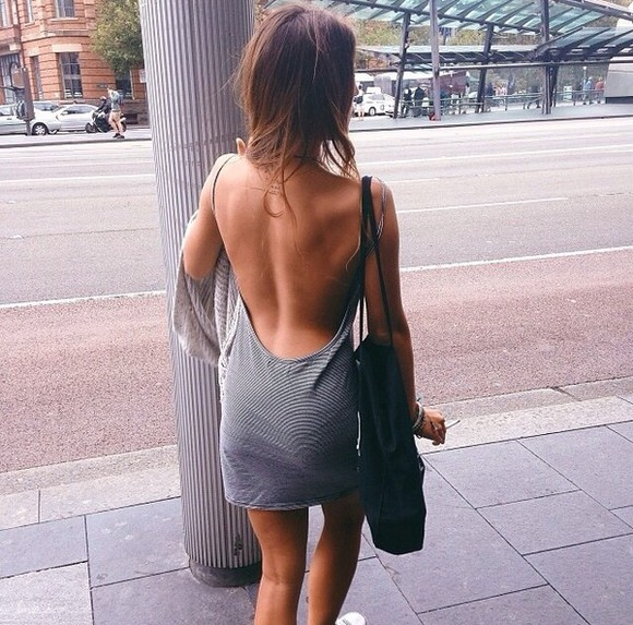 dress open back backless low back grey stripe stripes striped dress black bag smoke cardigan knit