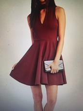 dress,skater dress,mock neck dress