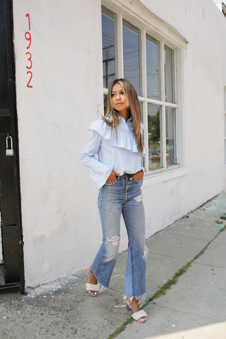 shirt tumblr blue shirt ruffle ruffle shirt denim jeans blue jeans flare jeans ripped jeans mules embellished