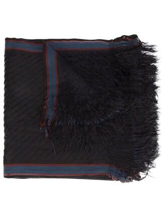 women scarf blue silk wool