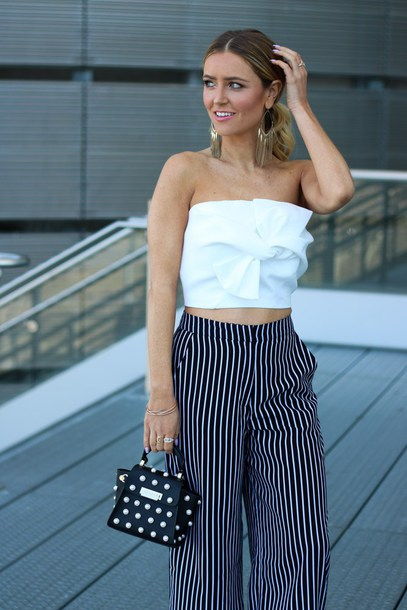pants tumblr wide-leg pants stripes striped pants top white top tube top white crop tops crop tops bag polka dots mini bag earrings jewelry spring date night outfit date outfit spring outfits