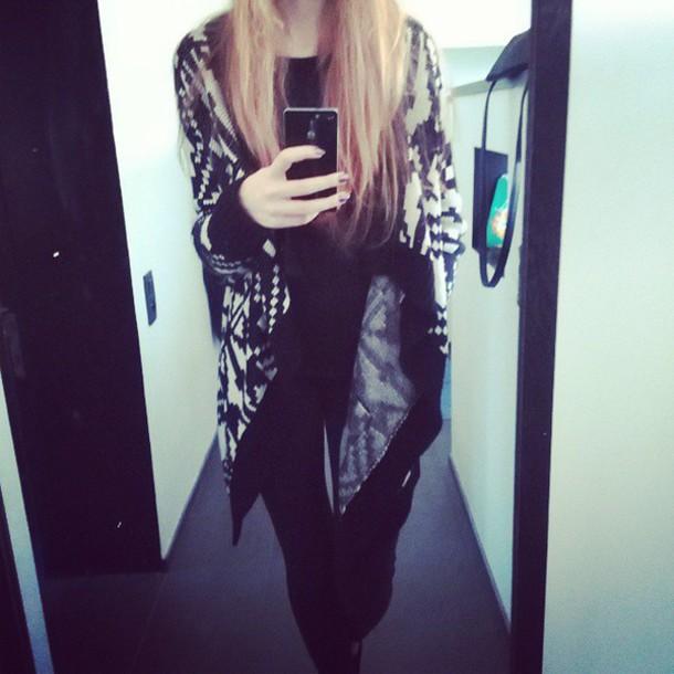 sweater long open noir blanc c&a