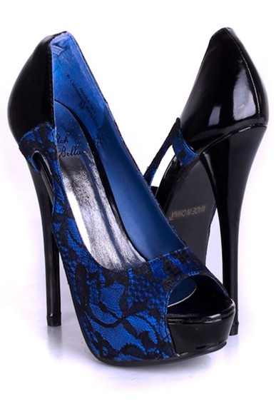 shoes platform high heels blue lace overlay peeptoe