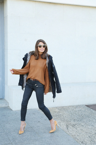 seams for a desire blogger rust skinny pants stilettos wayfarer parka jumper
