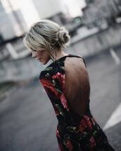 dress,tumblr,floral,floral dress,open back dresses,open back,backless,backless dress,long sleeves,hairstyles,blonde hair