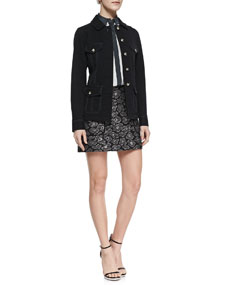 MARC by Marc Jacobs Zeta Casual Twill Jacket, Frances Contrast-Trim Silk Blouse & Cas Metallic Jacquard Short Skirt