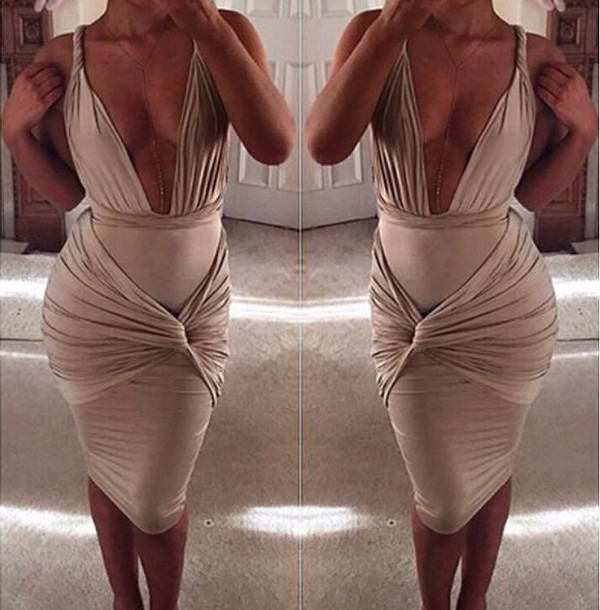 dress nude twist front