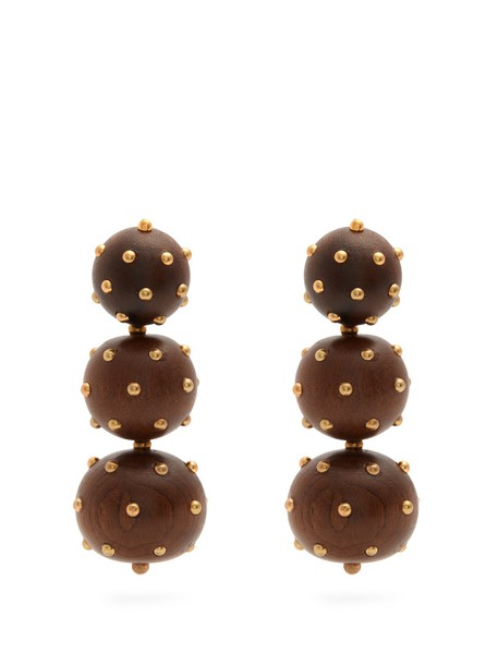 VANDA JACINTHO embellished earrings brown jewels