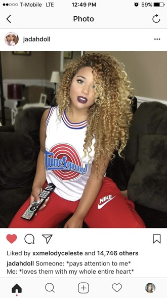 tank top jersey tune squad space jam micheal jordan looney toons white red blue jadah doll basketball basketball jersey 90s style 90s vintage