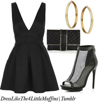 dress black black dress fancy pretty v neck little black dress semi formal