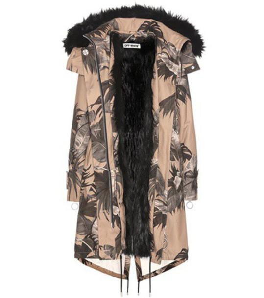 Off-White Printed Faux-fur Lined Parka in beige / beige