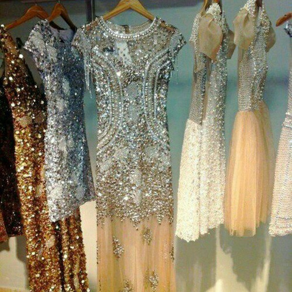 dress beaded gown champagne