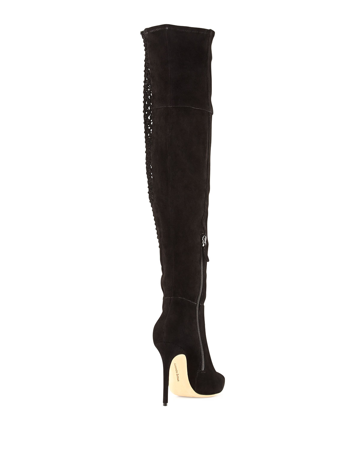 Alexandre Birman Stretch Suede & Crochet Over-the-Knee Boot