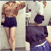 blouse,blue,navy,white,top,clothes,style,silk,buttons,belt,button up,brown,light brown,off-white,flowy,girly,urban,loose,long sleeves,jeans,shorts,blue jeans,pockets,collar,polyester,accessories,crop tops,classy,stylish,clutch,purse,High waisted shorts,high waisted,dress shirt,dressy tops,dress top,collared shirts,collar blouse,dressy,fancy,medieval,old fashioned,old fashion,summer,metal
