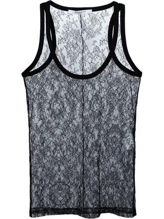 top vest top lace floral black