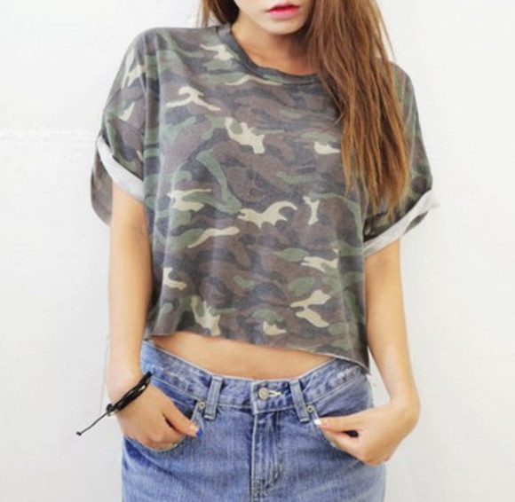 shirt green top t-shirt camouflage camouflaoge casual cropped military grunge 90's short sleeves