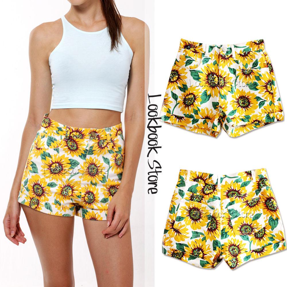 Women Summer Sunflower High Waist Rollup HEM Classic 5 Pocket Shorts HOT Pants | eBay