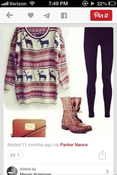 deer sweater leggings christmas sweater winter sweater winter outfits boots