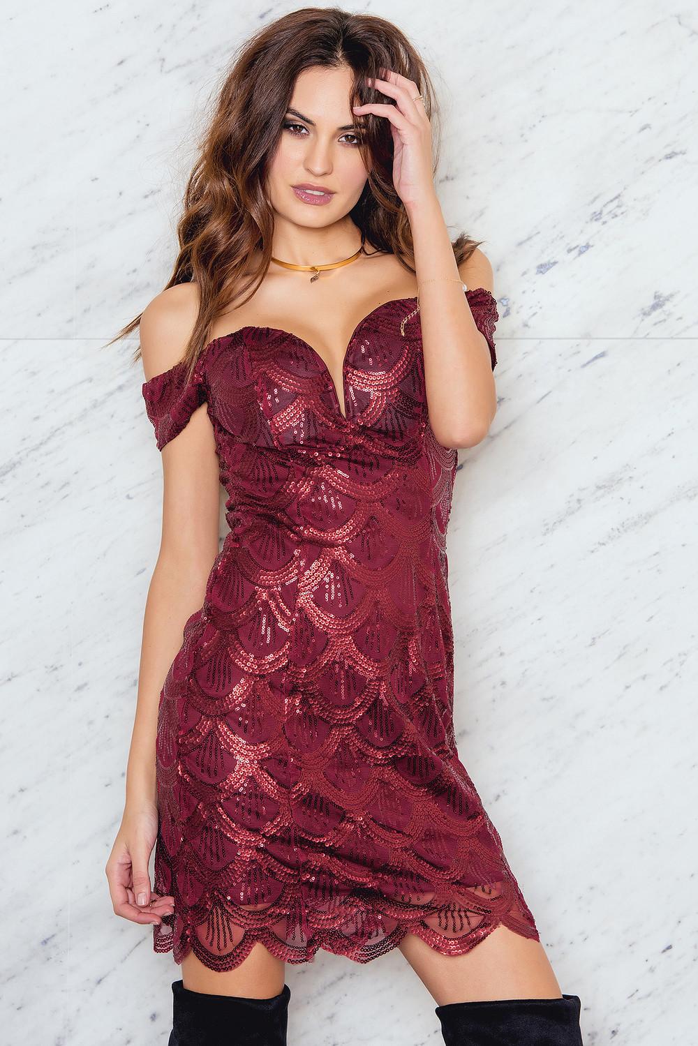 Rare London Sequin Bardot Mini Dress