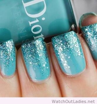 nail polish dior glitter blue nail art party make up wedding prom beauty pll ice ball mint blue wedding accessory