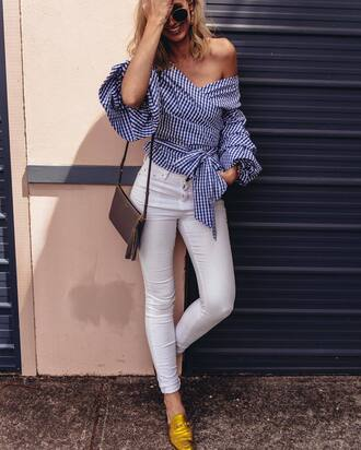 shirt tumblr stripes striped shirt off the shoulder off the shoulder top jeans white jeans gold shoes loafers gucci gucci shoes gucci princetown bag brown bag gingham gucci loafers