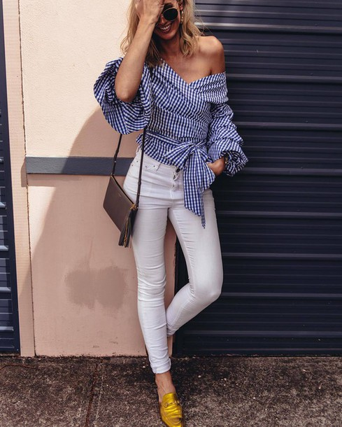 shirt tumblr stripes striped shirt off the shoulder off the shoulder top  jeans white jeans gold 9ccbfe67c