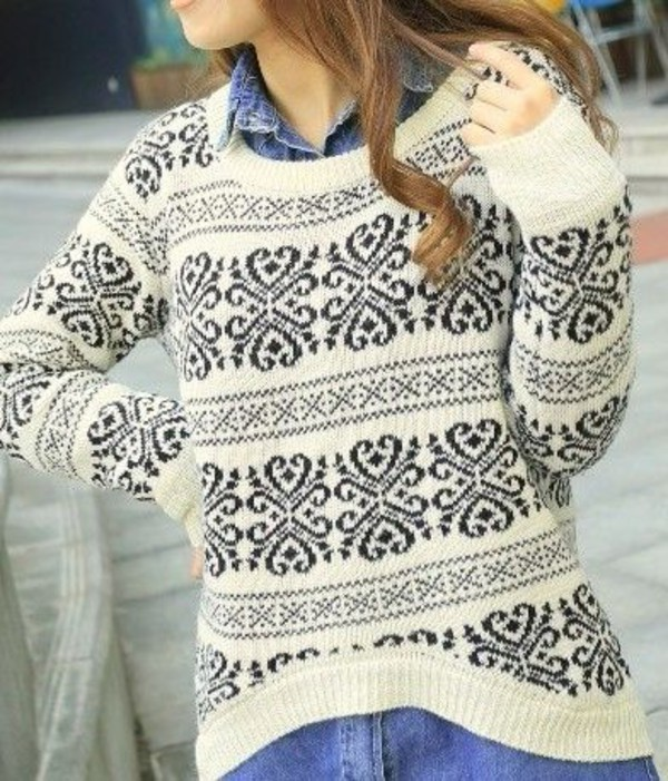 sweater black white outfit cute