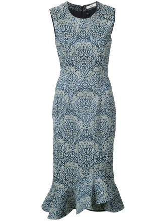 dress women spandex blue silk