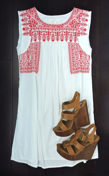 dress white dress with red embroidering boho summer dress red designs white dress preppy preppy dress red and white shoes
