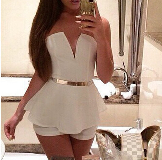 Sexy strapless jumpsuit lk1211eh
