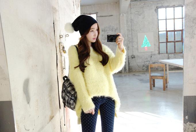 Handkerchief Hem Plush Knit Pullover
