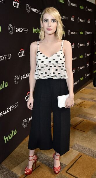 top pants sandals wide-leg pants emma roberts culottes black culottes