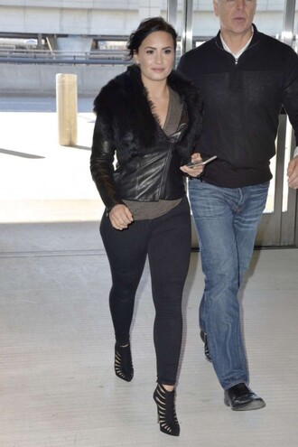 jacket leather jacket fur demi lovato