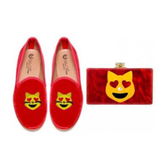 shoes flats red emoji print