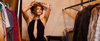 dress black halter neck pretty sexy no bra black halter neck top little black dress slit dress