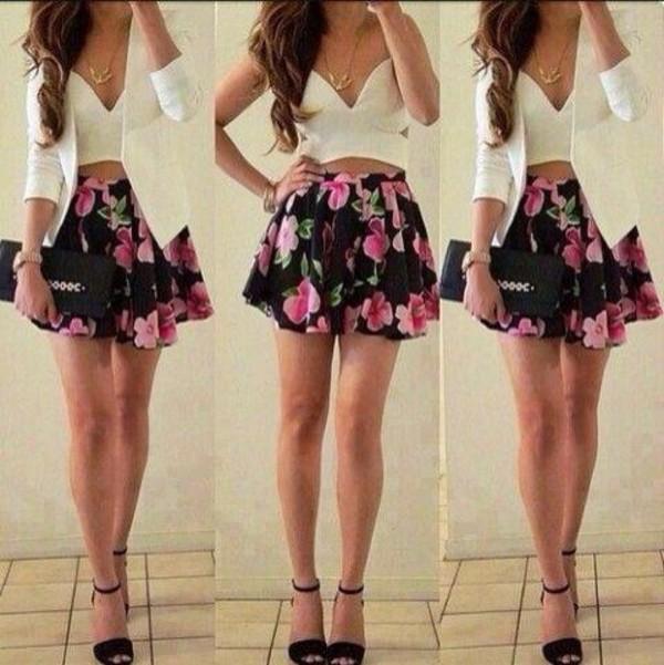 dress tank top jacket shoes skirt floral skirt floral dress crop tops classy blazer cute dress