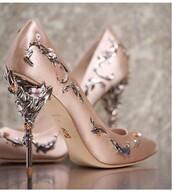 shoes,high heel pumps,heels,pumps,metallic shoes,metal,high heels,rose,rose gold