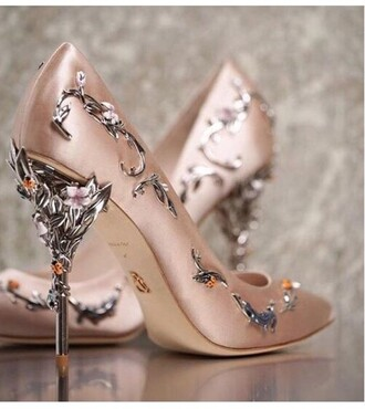shoes high heel pumps heels pumps metallic shoes metal high heels rose rose gold