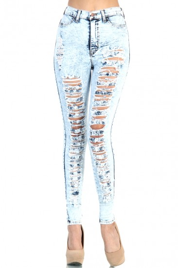 LoveMelrose.com From Harry & Molly | Distressed High Waist Jeans - Light Acid Wash