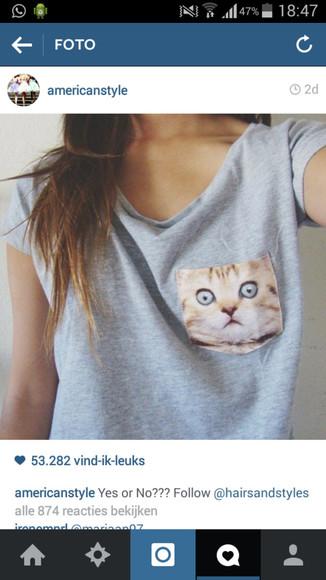 grey t-shirt grijs cat shirt cat face